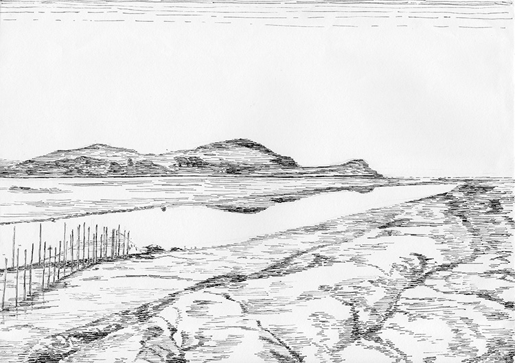 Castle-Point-River-Urr-Tide-Out-Nets-B&W-line-drawing-web