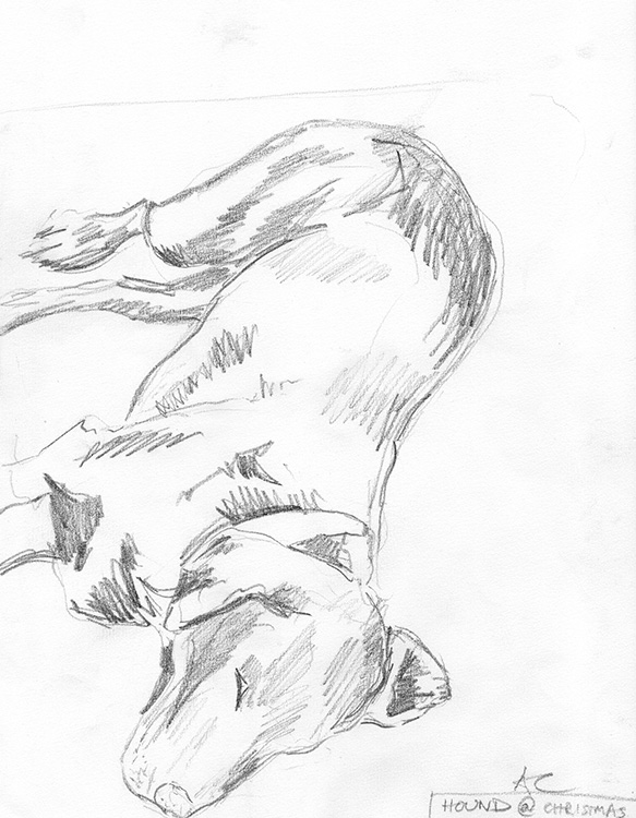 Hound-At-Christmas-pencil-sketch-2000-web