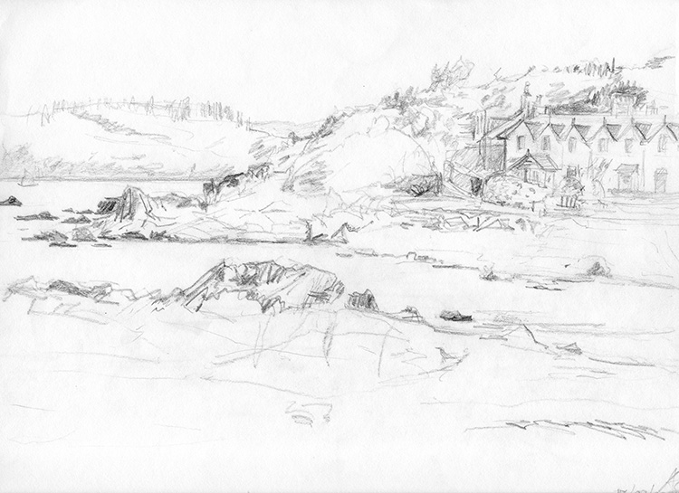 Rockcliffe-bay-houses-rocks-B&W-sketch-web