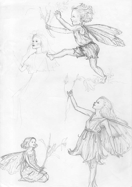 Flower-Fairies-study-pencil-sketches-B&W-web