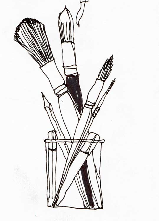 Brushes-and-pencil-in-pot-B&W-drawing-web